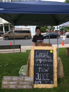 Stop by to talk to Alli and try one (or all) of her great juices and mylks!
